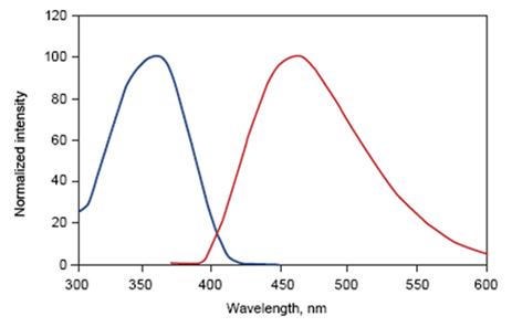 ​Fig. 2. DAPI excitation and emission spectra. Maximal excitation at 359nm (blue) and maximal emission at 461nm (red)