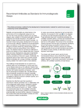 Recombinant antibodies as standards for immunodiagnostic assays