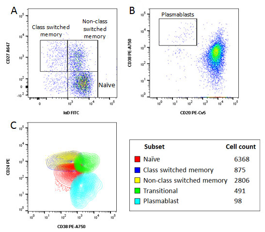 Fig. 4. Characterisation of B cells using an 8 color panel.