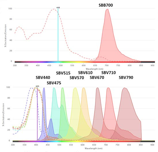Fig. 1. Excitation and emission spectra of StarBright Dyes. These dyes are conjugated to our highly validated flow antibodies.